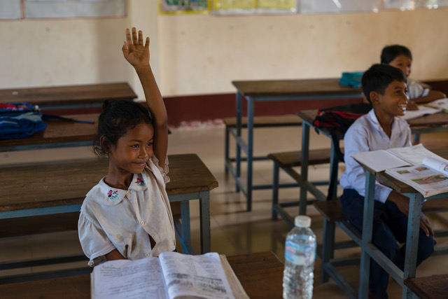 Students in class. Many students had gone to their home province for the Khmer New Year. This primary school was established through donations from the John Septimus Roe school in Perth, Western Australia.